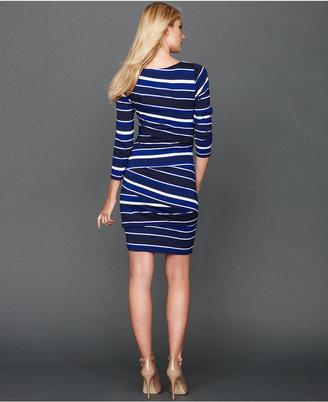INC International Concepts Dress, Three-Quarter-Sleeve Tiered Striped