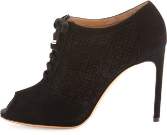 Salvatore Ferragamo Paonessa Punched Lace-Up Bootie