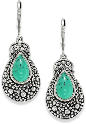 Manufactured Turquoise Ornate Leverback Earrings in Sterling Silver (5-1/2 ct. t.w)