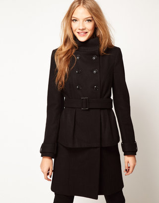 Asos Peplum Coat With Belt