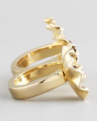 Colette Malouf Enameled Flower Double-Finger Ring, Mauve