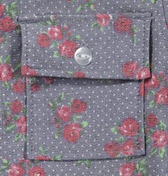 Zooey Gingham L/S Button Up Denim Top - Light Blue-2T