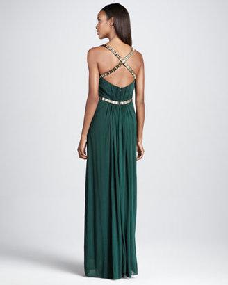 Aidan Mattox Bead-Waist Jersey Gown