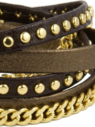 Alexandra Beth Designs Chain and Leather Wrap Bracelet