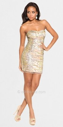Atria Sexy Strapless Embellished Gold Short Prom Dresses