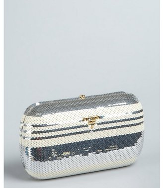 Prada silver and white sequined minaudiere clutch