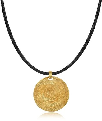 Stefano Patriarchi Golden Silver Etched Small Round Pendant w/Leather Lace