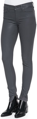 Vince Zipper-Cuff Coated Skinny Pants, Slate