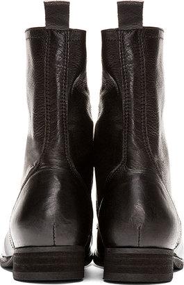 Diesel Black Leather Arthik Combat Boots