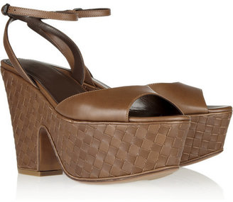 Bottega Veneta Intrecciato leather wedge sandals