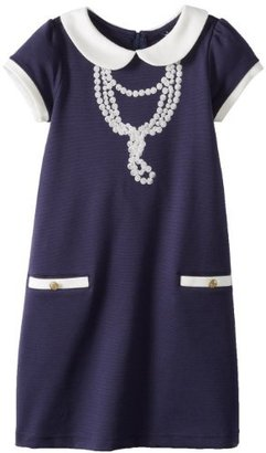 Hartstrings Girls Embroidered Pearl Necklace Knit Ponte Dress