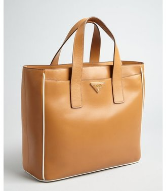 Prada caramel leather small square tote bag