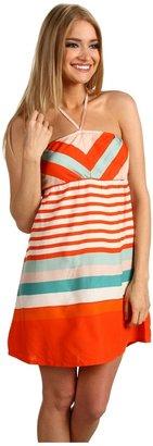 Roxy Sky Sail Dress (Hot Orange Stripe) - Apparel