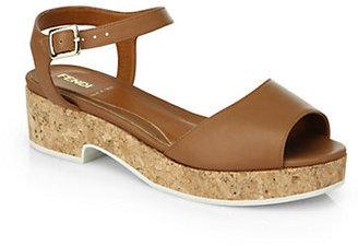 Fendi Cecilia Leather Ankle-Strap Sandals