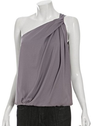 Golde orchid silk twisted one shoulder bubble top