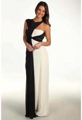 Halston Sleeveless Asymmetrical Side Drape Gown (Cream/Black) - Apparel