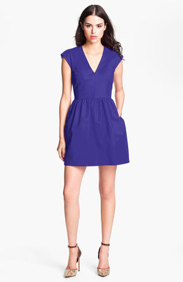 French Connection V-Neck Cotton Fit & Flare Dress