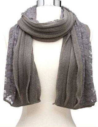 Charlotte Russe Lace Panel Ruffled Knit Scarf