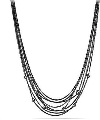 David Yurman Midnight Melange Eight-Row Chain Necklace with Diamond Beads