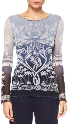 Jean Paul Gaultier Nave Nave Moe Long-Sleeve Ombre Tulle Tattoo Top