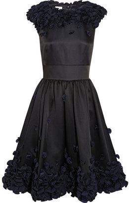 Temperley London Flora ruffle-appliquéd satin dress