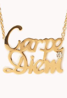 Forever 21 Statement Carpe Diem Necklace