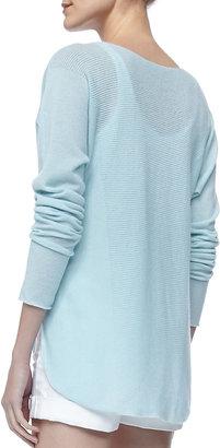 Vince Long-Sleeve Cashmere Top, Aqua