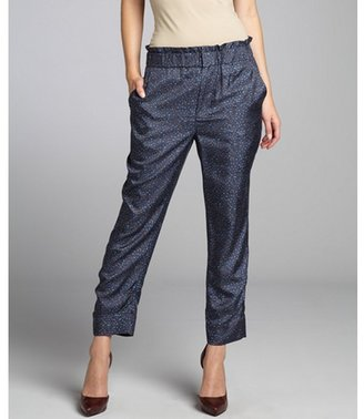 Marc by Marc Jacobs quasar blue floral print 'Baby Ruthie' paper bag waist cropped pants