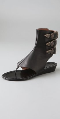 Sigerson Morrison Thong Wedge Booties with Western Buckles