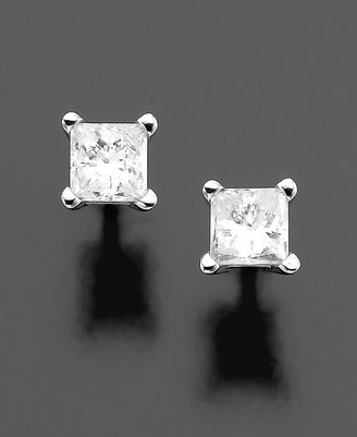 Diamond Earrings, 14k White Gold Princess Cut Diamond Studs (1/4 ct. t.w.)
