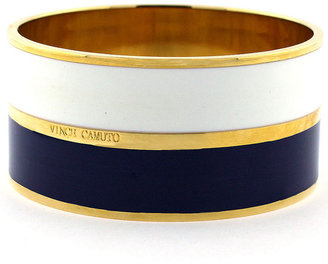 Vince Camuto Bracelet, Gold Tone Navy and White Enamel Bangle