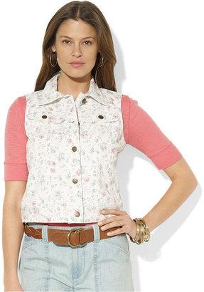 Lauren Ralph Lauren Jacket, Floral-Print Denim Vest