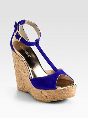 Jimmy Choo Pela Suede T-Strap Cork Wedge Sandals