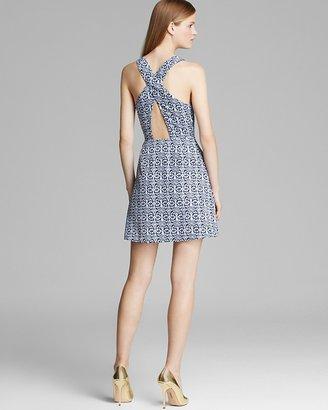 Aqua Dress - Sleeveless Cross Back Tribal Print