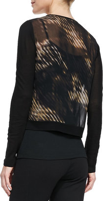 T Tahari Ellis Printed-Chiffon and Knit Sweater