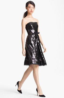 Nina Ricci Strapless Lace Detail Paillette Dress