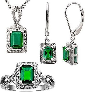 JCPenney Lab-Created Emerald 3-pc. Jewelry Set