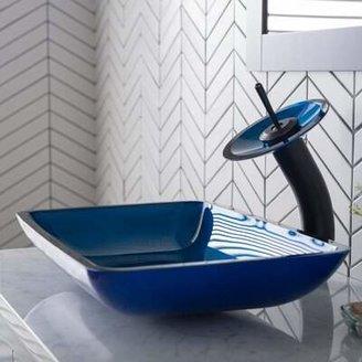 Kraus Galaxy Glass Rectangular Vessel Bathroom Sink Kraus Color: Fire-Blue, Drain Finish: No Pop-up Drain (Sink Only)