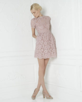 Valentino Short-Sleeve Floral Lace Dress, Rosa