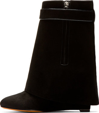 Givenchy Black Suede Shark Lock Wedge Boots