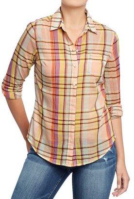 Old Navy Women's Plaid-Print Madras Shirts