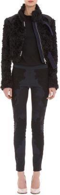 Nina Ricci Mongolian Faux-Fur Moto Jacket