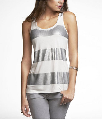 Express Striped-Front Sequin Tank