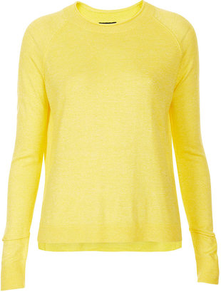 Topshop Knitted fine gauge cuff detail top in yellow 65% viscose,35% nylon. machine washable.