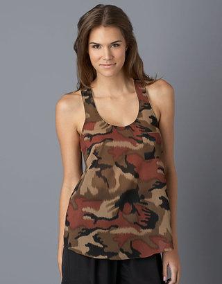 Collective Concepts Zipper-Trim Camouflage Racerback Tank Top