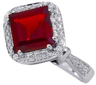 "3.30 CT.T.W. Princess-Cut Created Ruby 0.10 CT.T.W. Diamond Round-Cut Jewelry Set in Silver Size 7 (18"")"