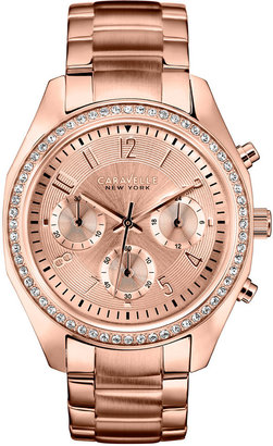 Caravelle New York by Bulova Women's Chronograph Rose Gold-Tone Stainless Steel Bracelet Watch 36mm 44L117 $175 thestylecure.com