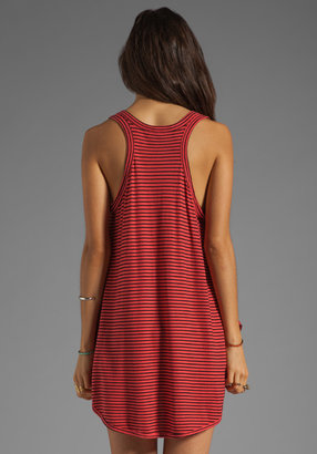Wilt Stripe Jersey Slouchy Double Shirttail Tank in Black/Lipstick