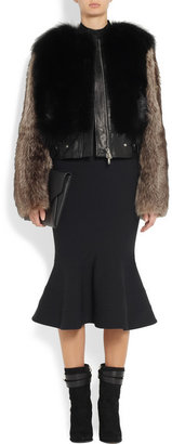 Givenchy Black and brown leather-trimmed raccoon jacket