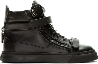 Giuseppe Zanotti SSENSE Exclusive Black Leather High-Top Sneakers